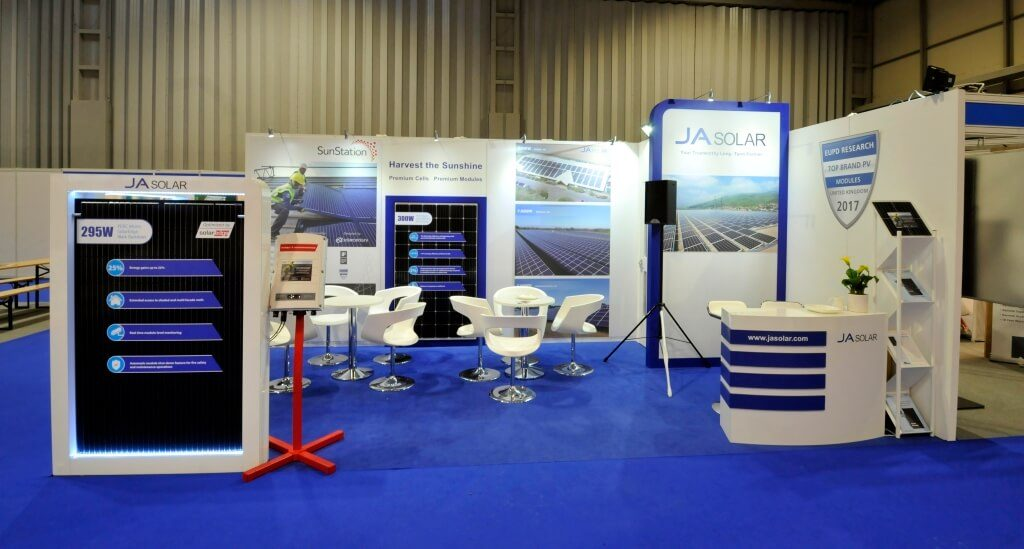 JA Solar exhibition stand at Solar and Storage Live