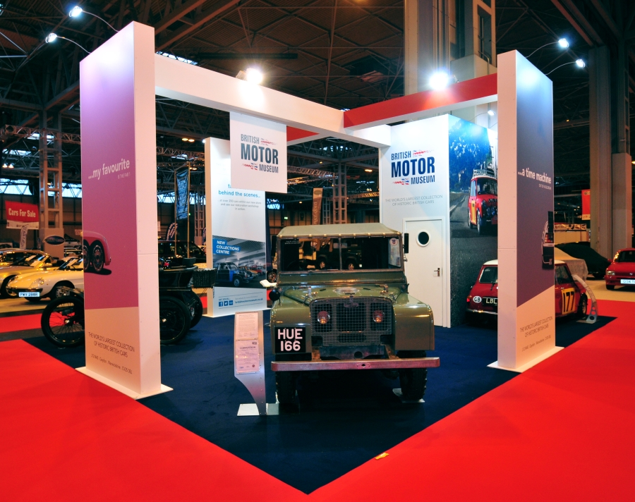 classic car show exhibition stand - british motor museum