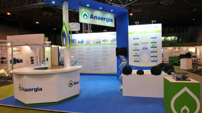 Exhibition stand for Anaergia at ADBA (Anaerobic Digestion & Bioresources Association)