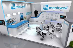 8 x 8 exhibition stand design for Mackwell Electronics at Lux Live