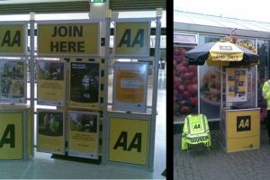 Shopping centre display - the AA, Automobile Association